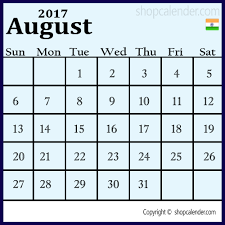 August 2017 Holidays India