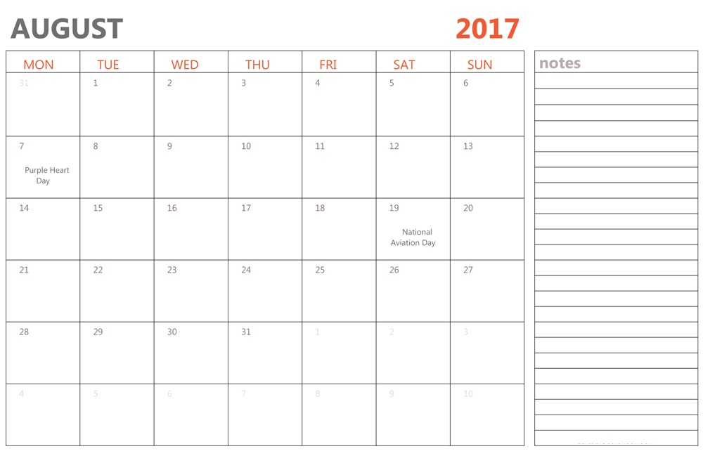 August 2017 Holidays USA