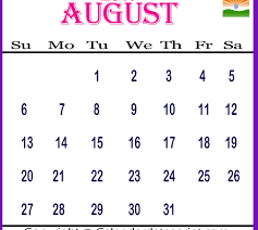 August 2017 India Holidays Printable