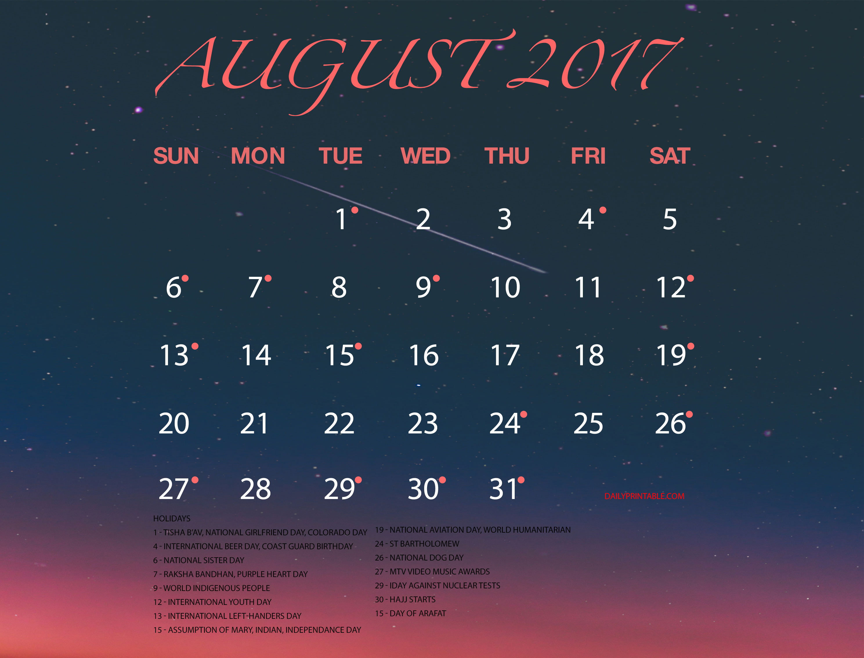 August Calendar 2017 Holidays, August 2017 Calendar Holidays, August 2017 Calendar with Holidays