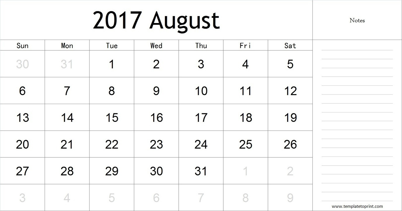 Blank August 2017 Calendar with Notes