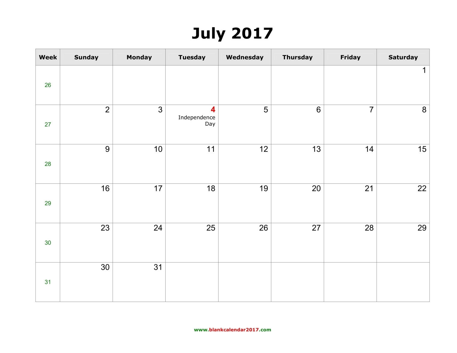 Blank July 2017 Calendar Templates Printable