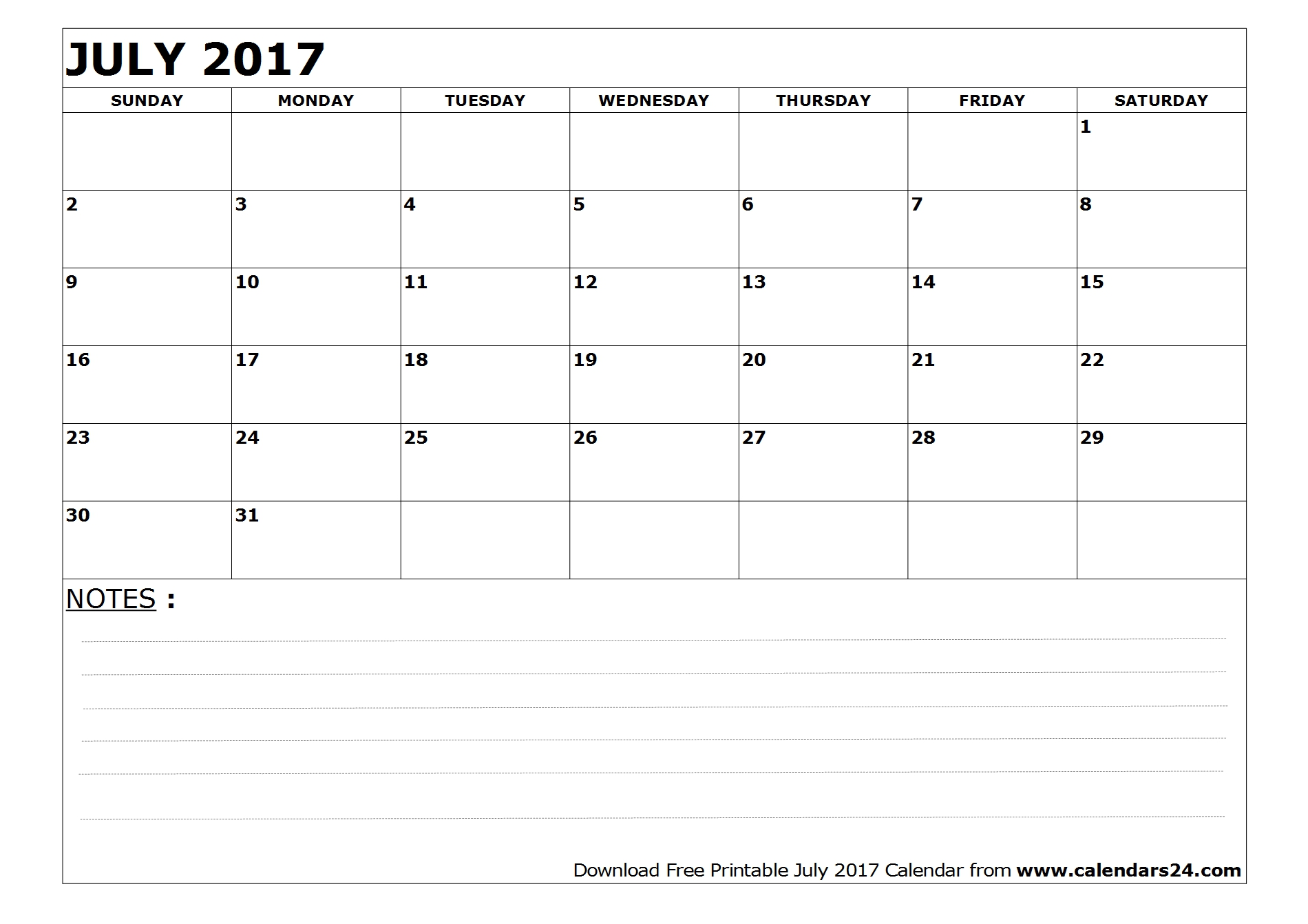 Blank July 2017 Calendar with Notes