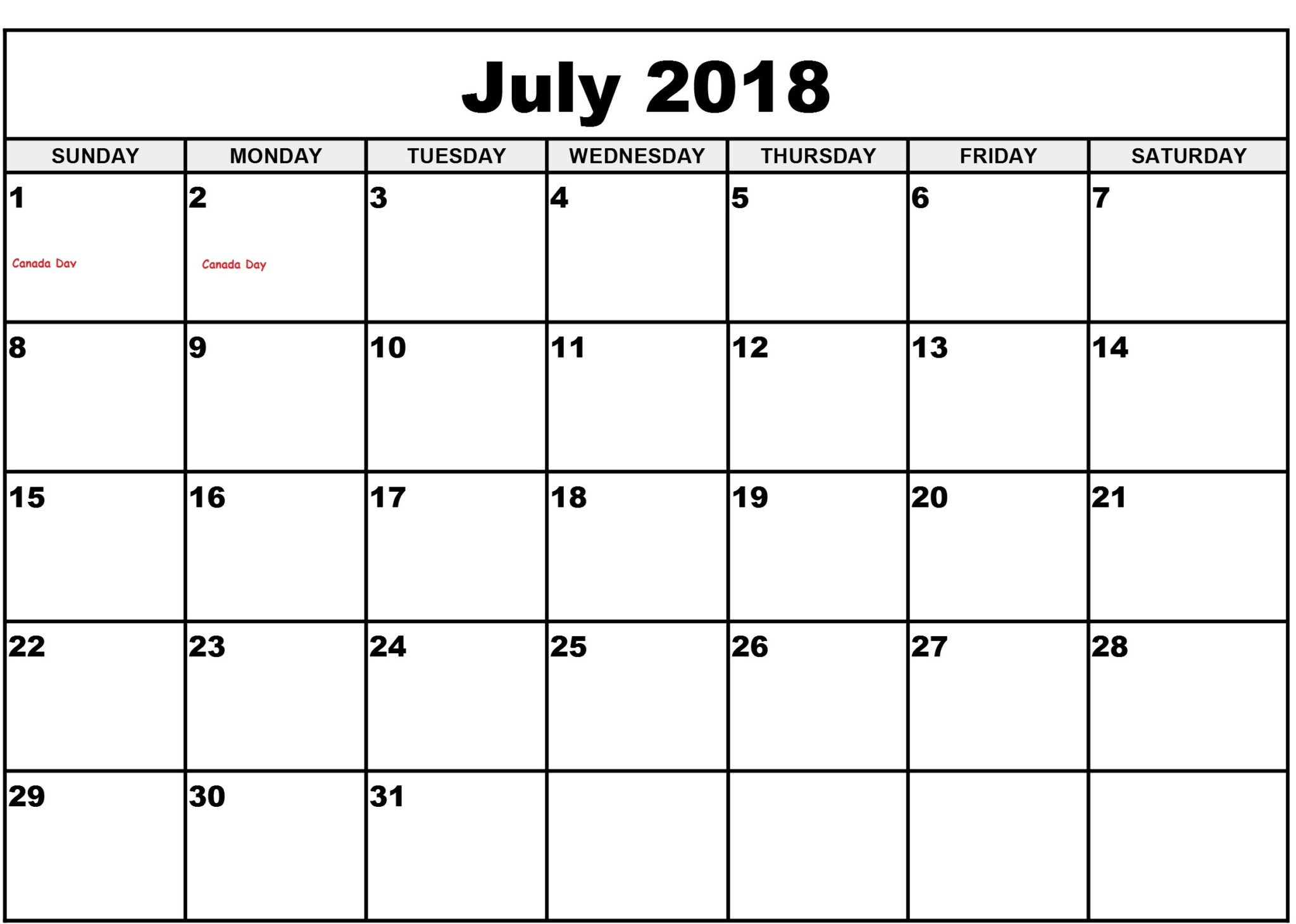 Calendar July 2018 Printable Pages