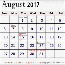 Calendar with holiday August 2017