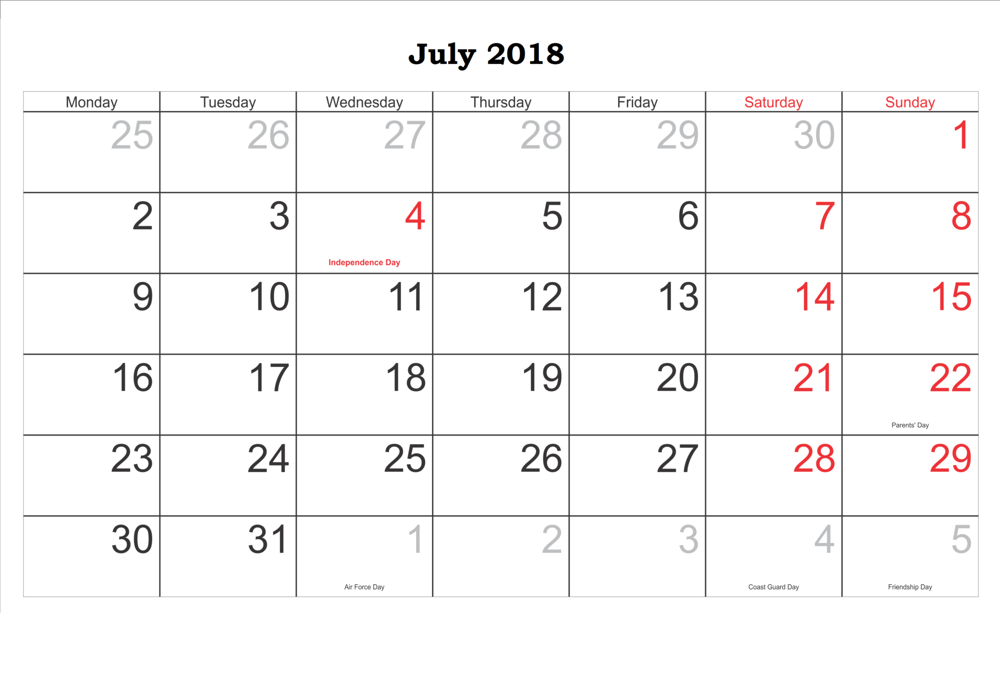 Editable July 2018 Calendar Word