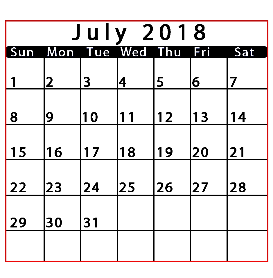 July 2018 Calendar Portrait