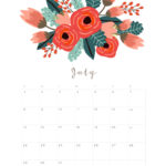Cute July 2018 Calendar Page PDF Word Excel with Notes Vertical Landscape Portrait
