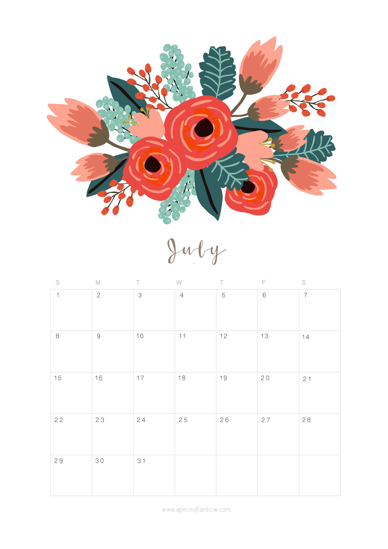 July 2018 Floral Calendar Page