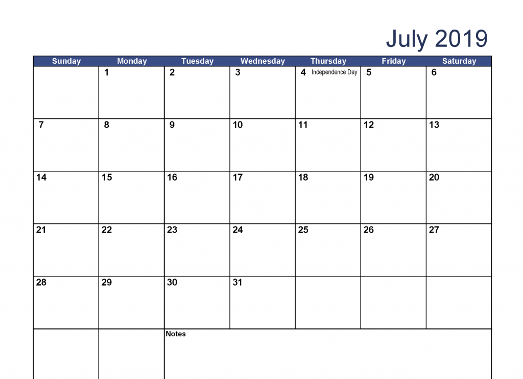 July 2019 Calendar Download