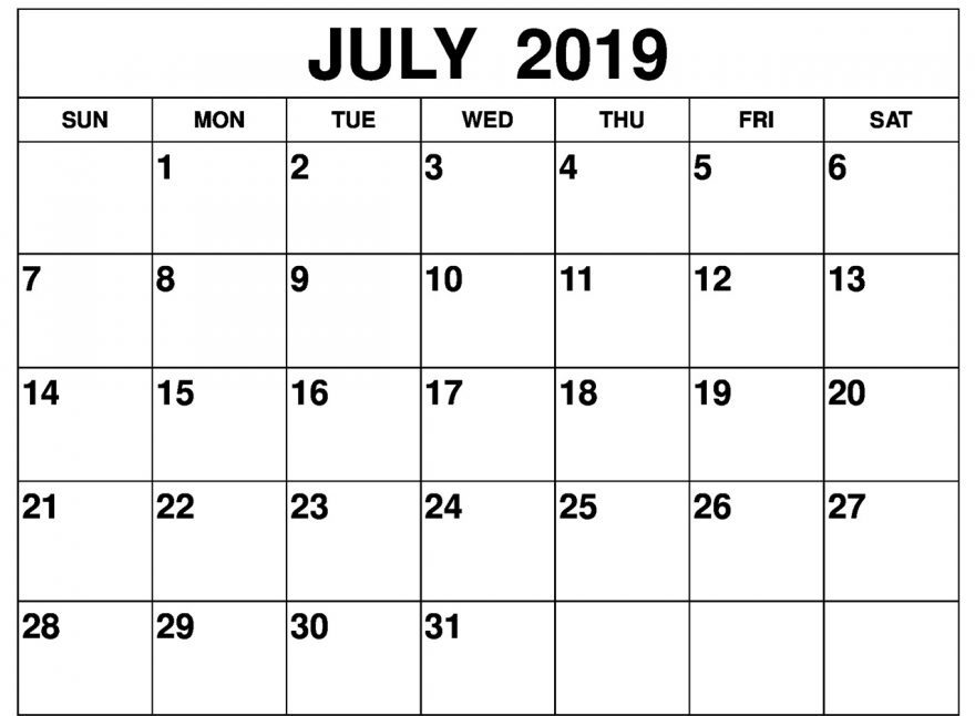 July 2019 Calendar Printable One Page