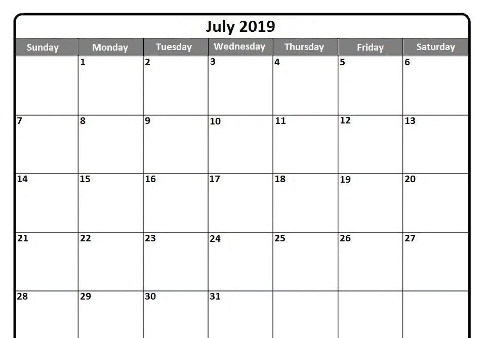 July 2019 calendar printable free in portrait