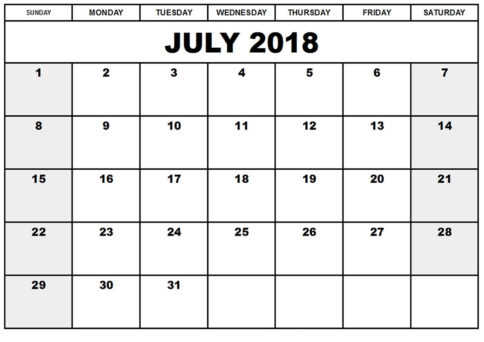 July Calendar 2018 Portrait