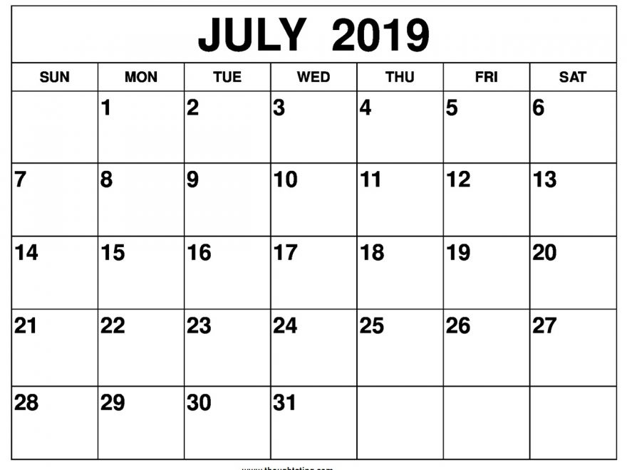 July Calendar Printable 2019 Landscape