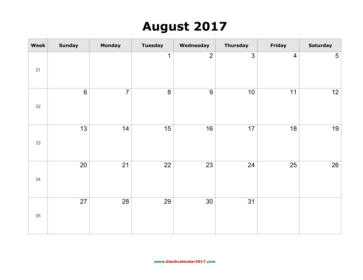 august 2017 calendar page