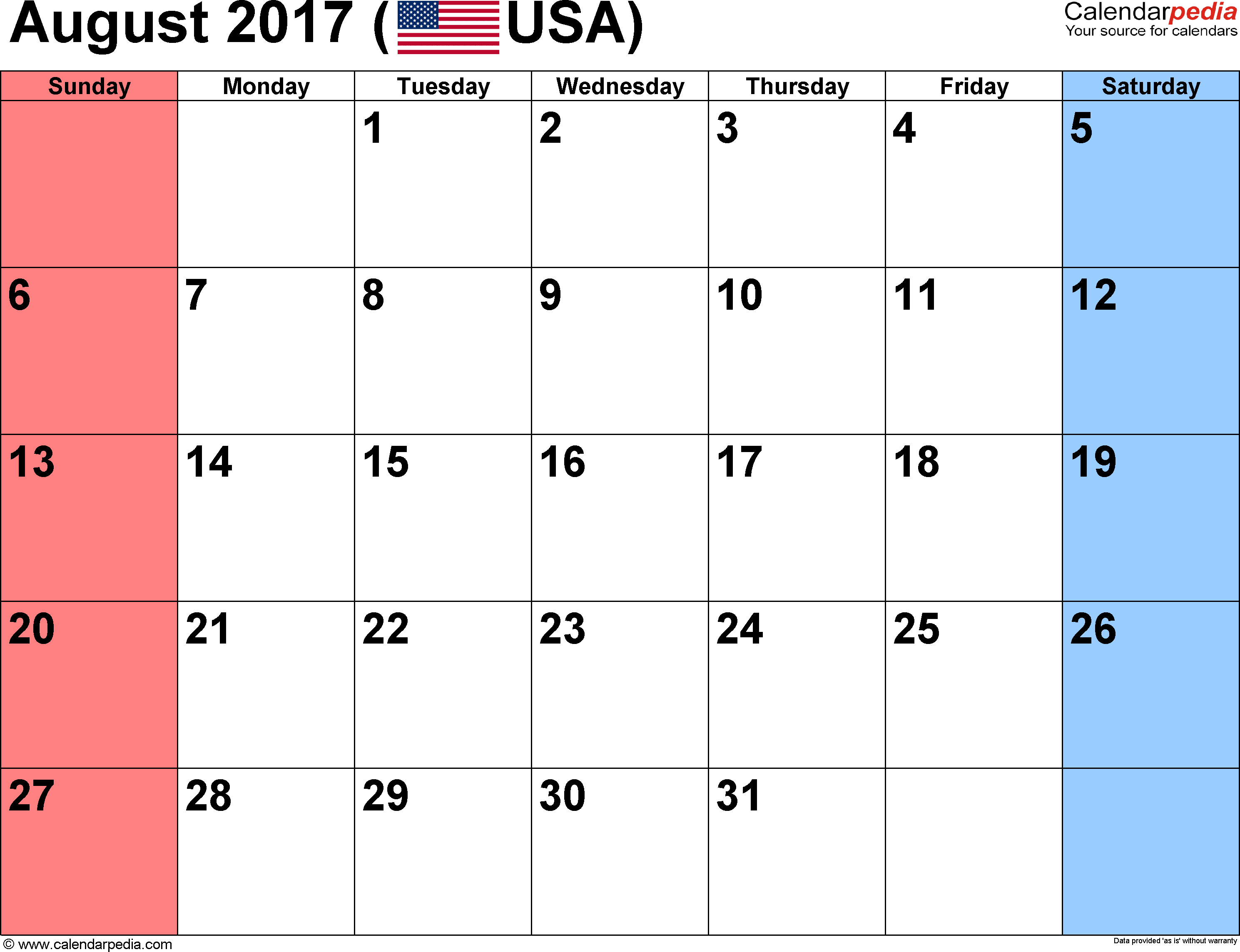august 2017 calendar with holidays usa