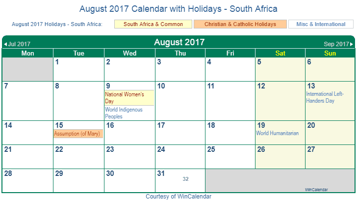 august 2017 holidays south africa