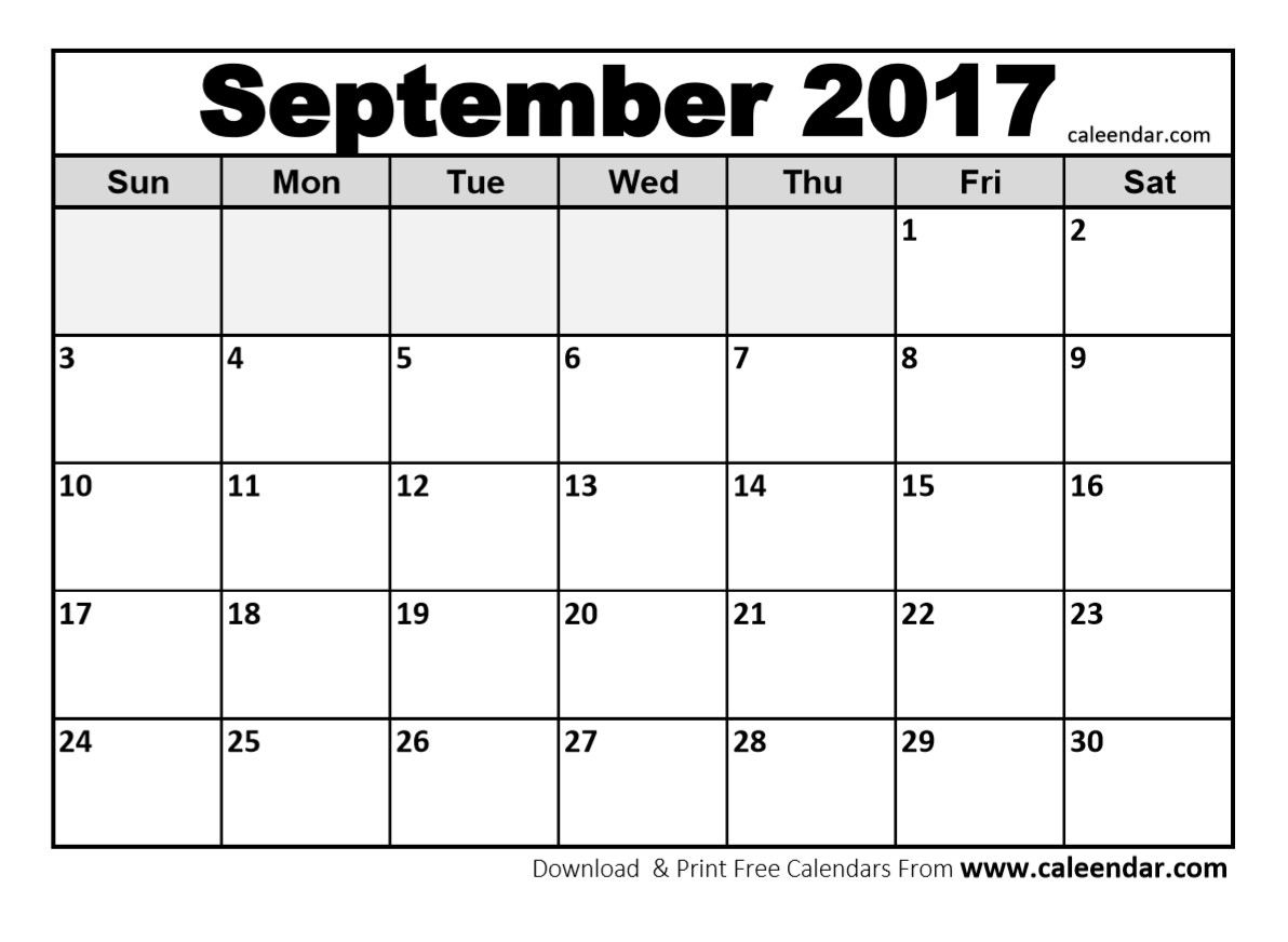 Cute September 2017 Calendar Page PDF Word Excel Portrait Landscape