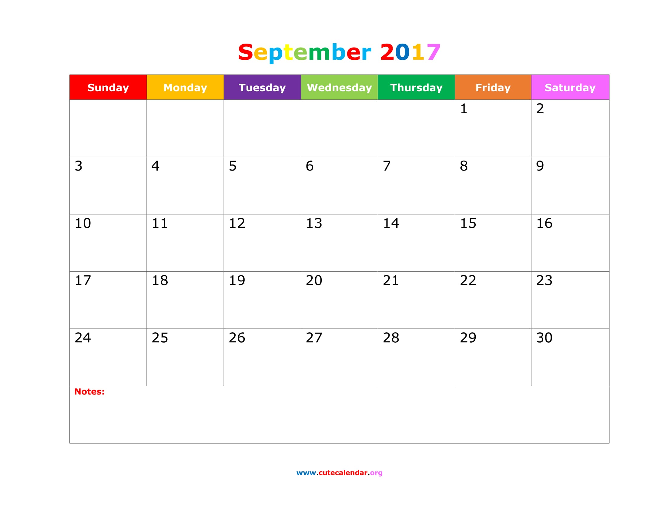 September Calendar 2017 Printable Cute – September printable calendars