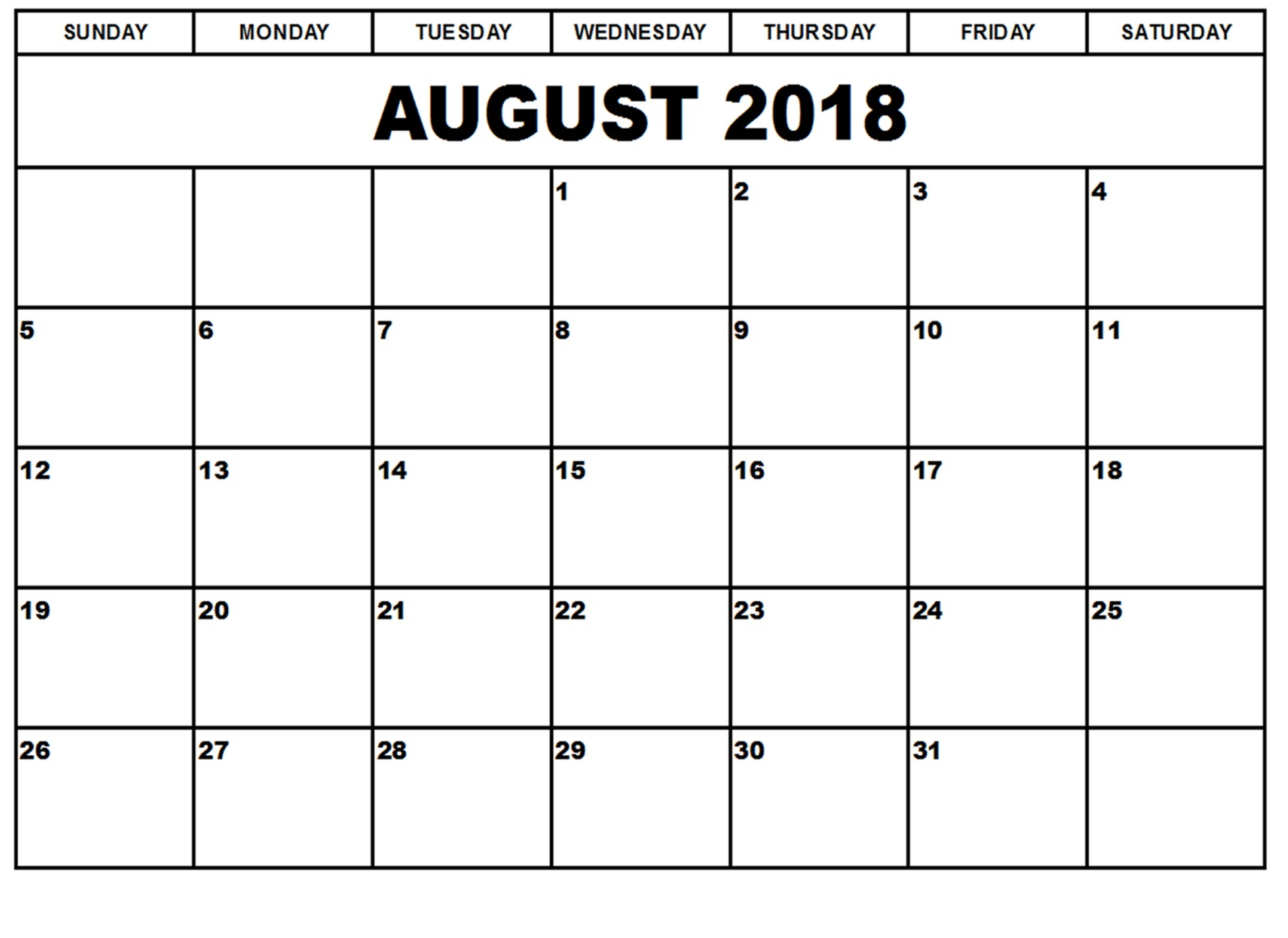 2018 August Calendar With Holidays Notes