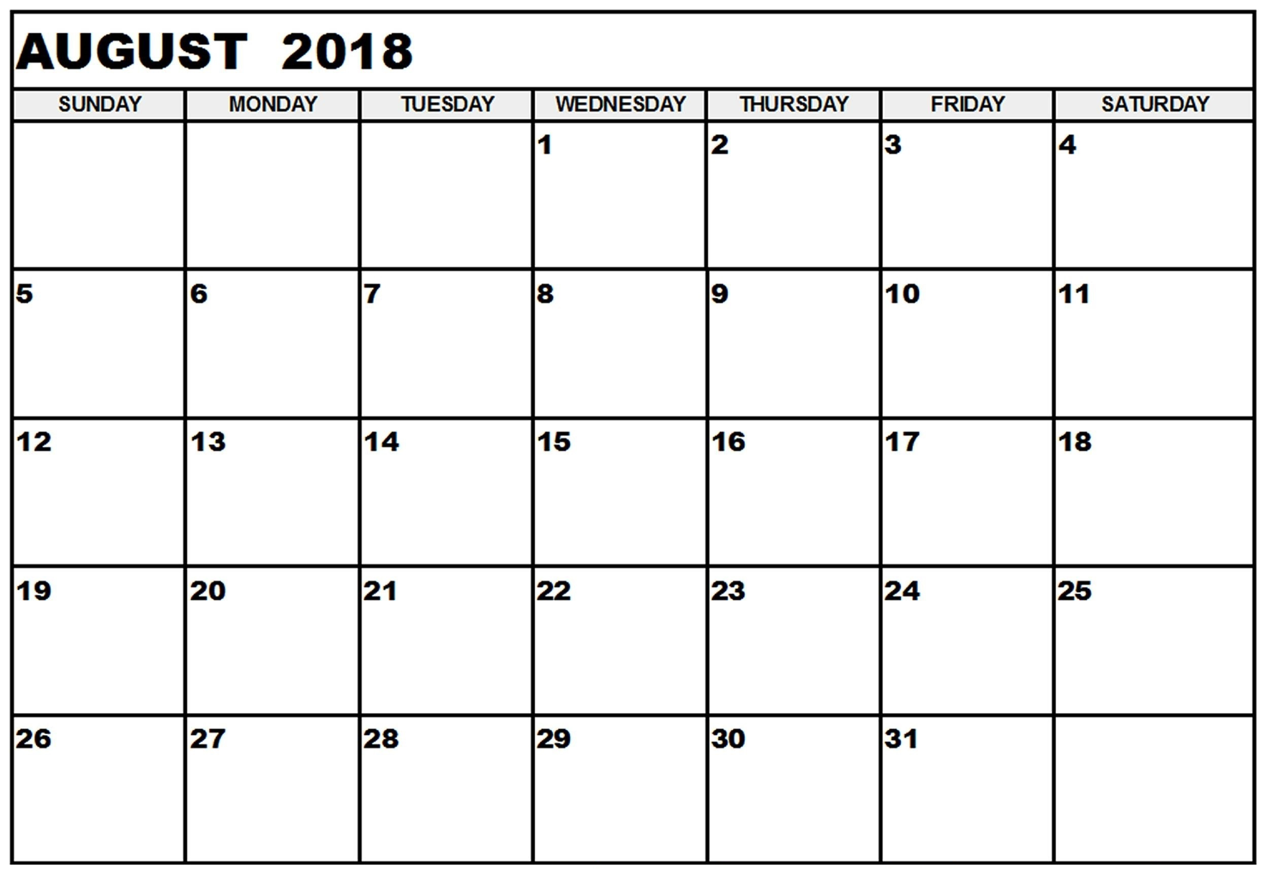 2018 August Printable Calendar Holidays Free Blank