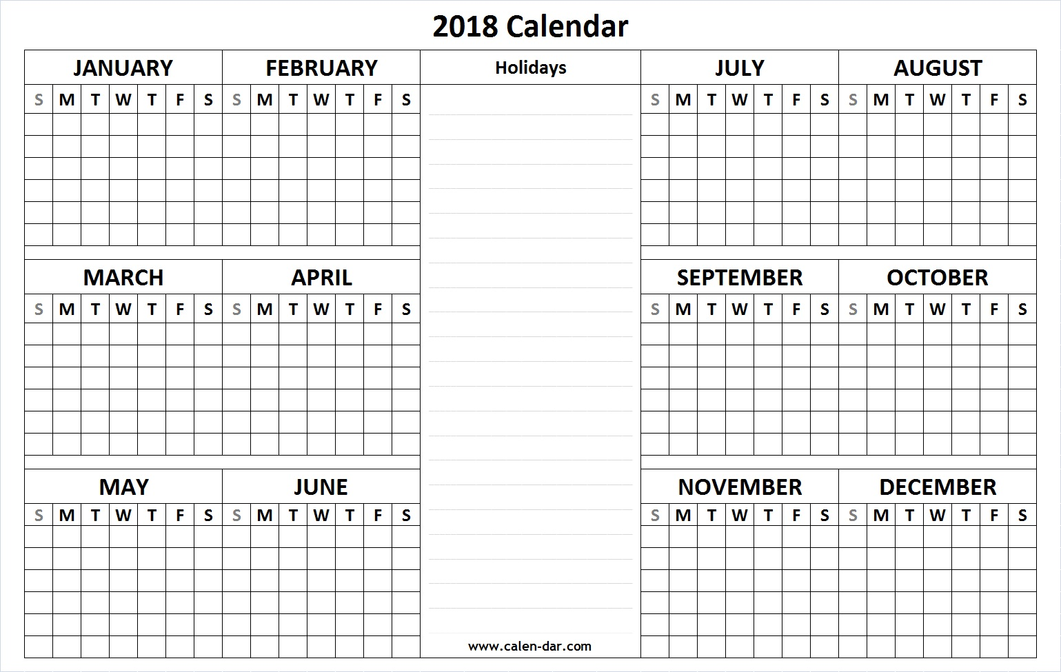 2018 Calendar Printable  Free Download