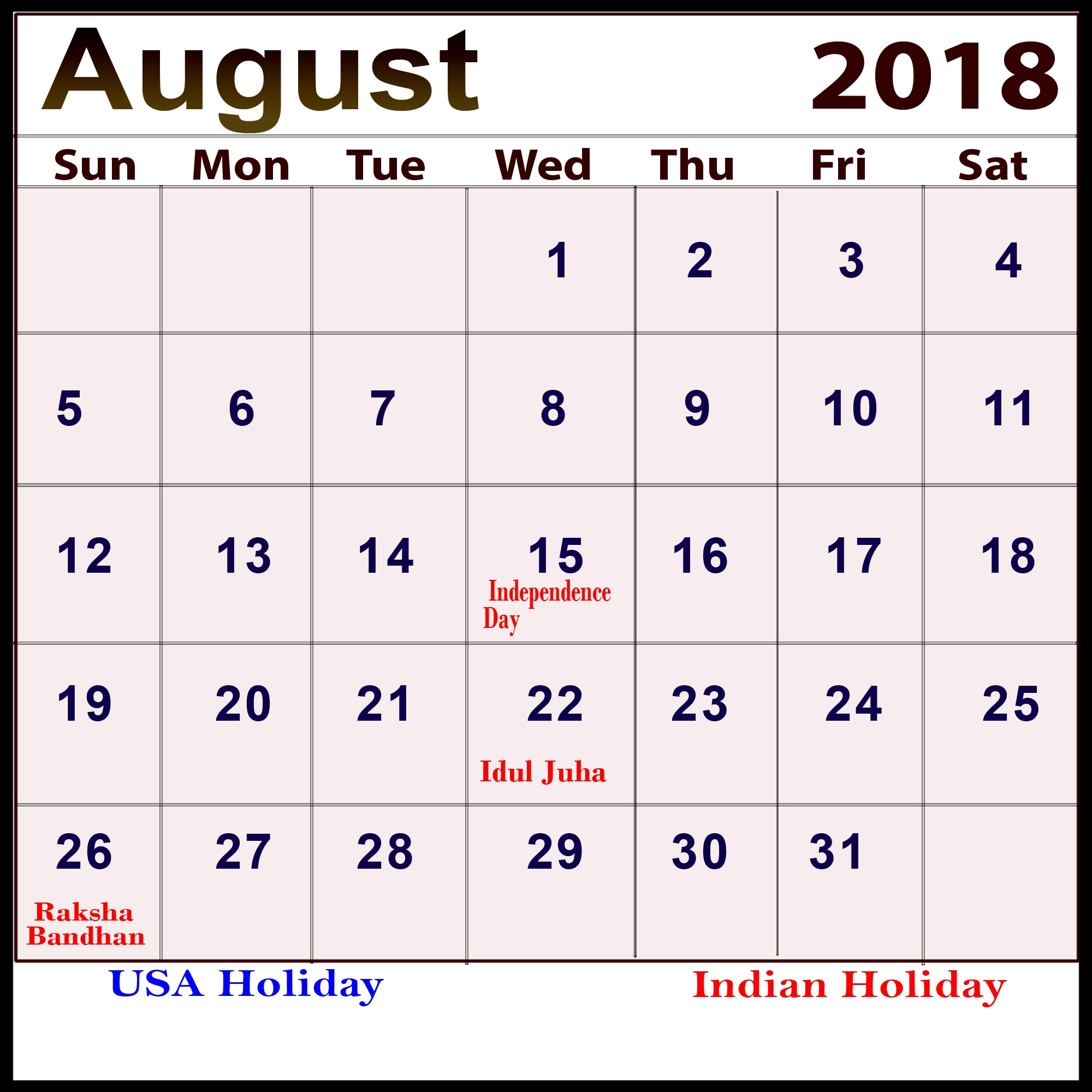August 2018 Calendar With Holidays For Free