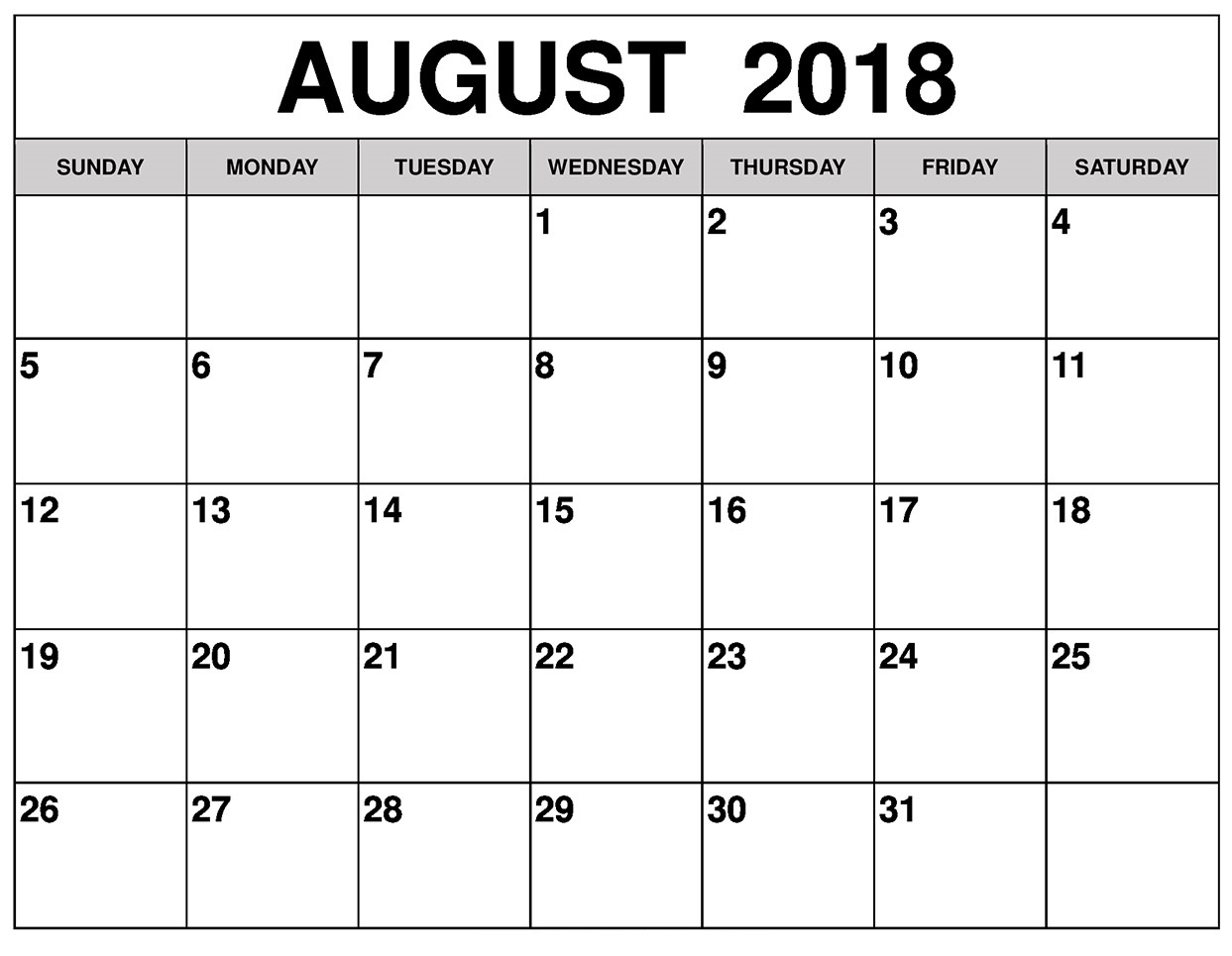 August Calendar 2018 With Holidays