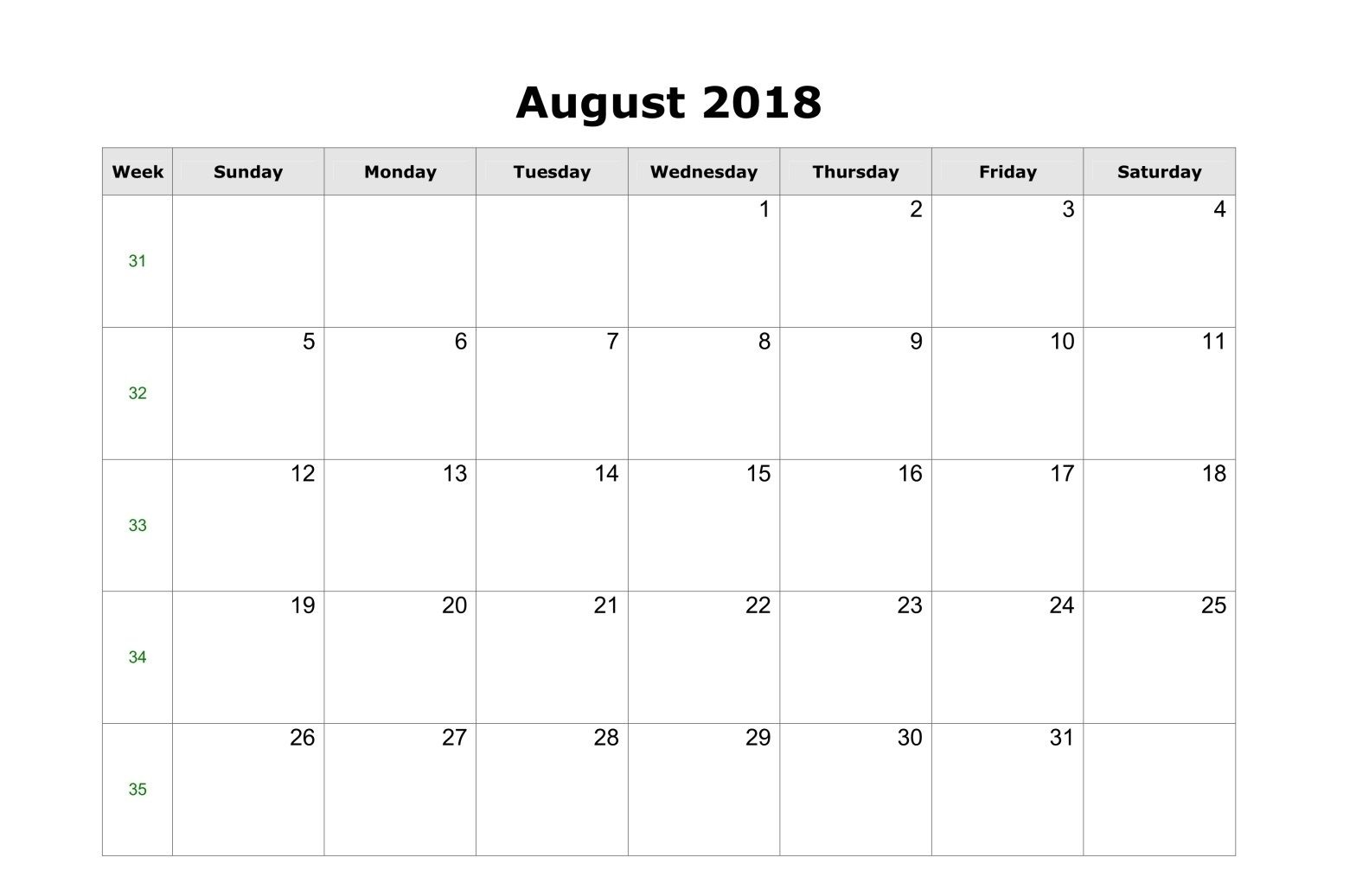 August Calendar 2018 With Holidays For USA Canada