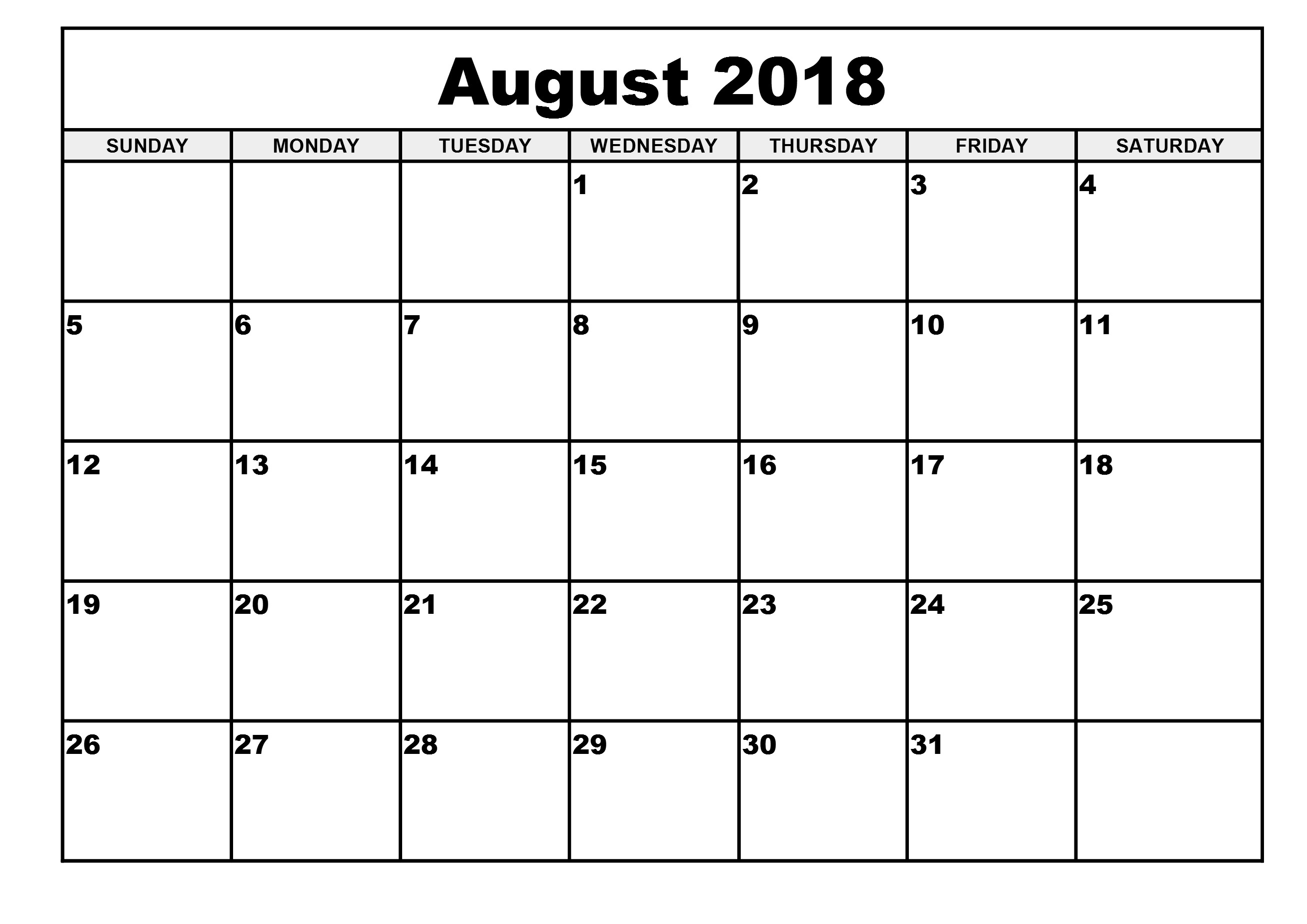 August 2018 Calendar | 2017 Calendar With Holidays