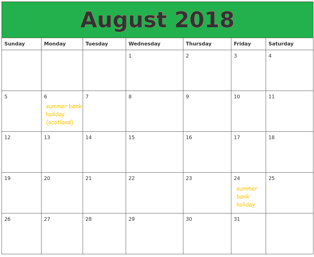 Blank August Calendar 2018 With Holidays