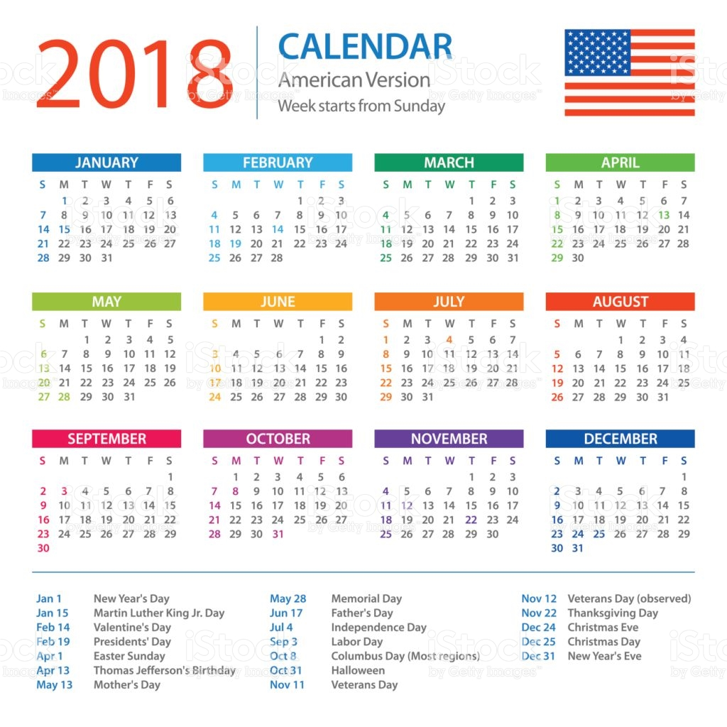 Calendar 2018 American Version with Holidays