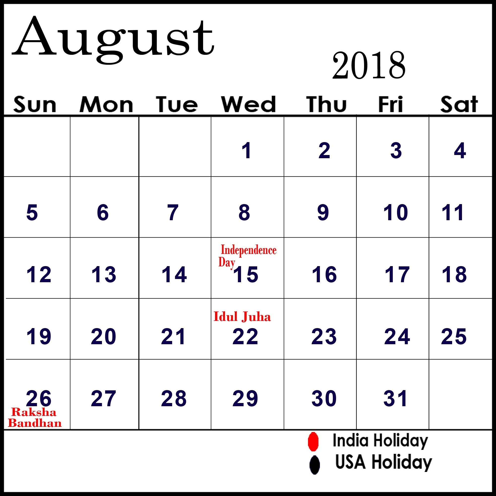 August 2018 Calendar With Holidays | Calendar Monthly Printable regarding August 2018 Calendar With Holidays