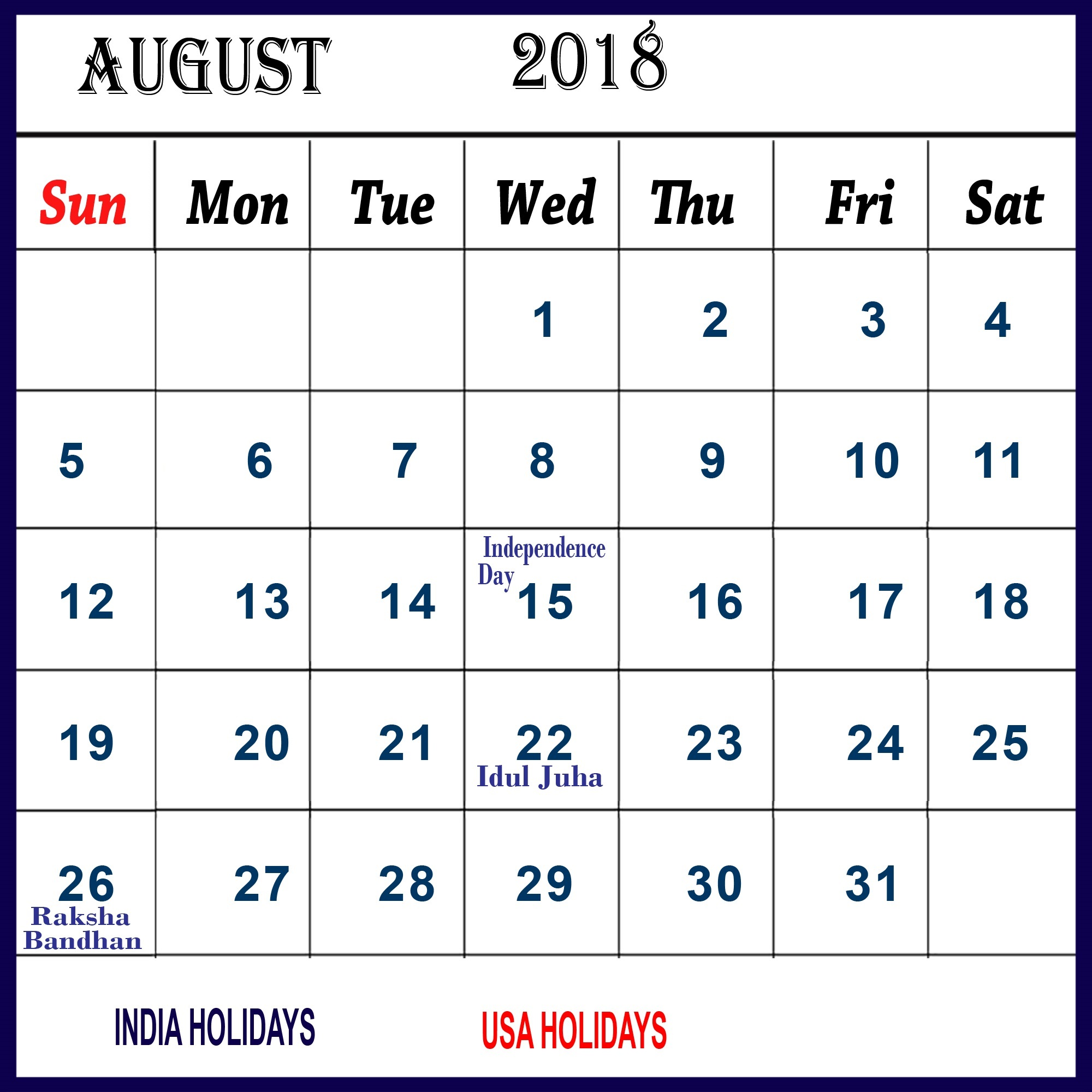 Desk Printable August 2018 Calendar With Holidays
