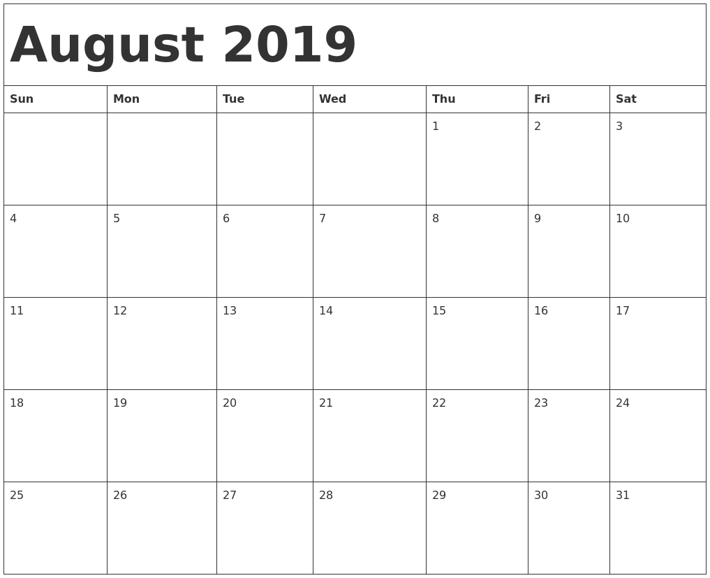 picture about Free Printable August Calendar referred to as August 2019 Calendar Printable Cost-free Down load PDF Term