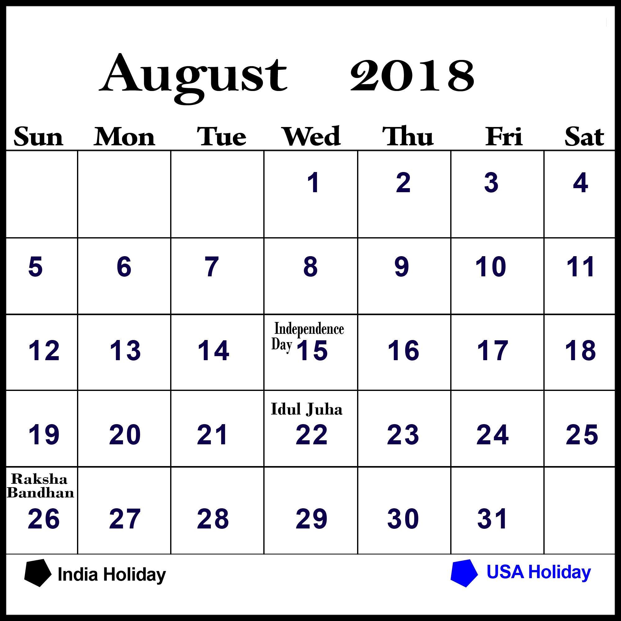 Online 2018 August Calendar With Holidays