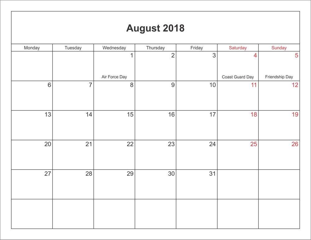 Printable August 2018 Calendar Bank Holidays