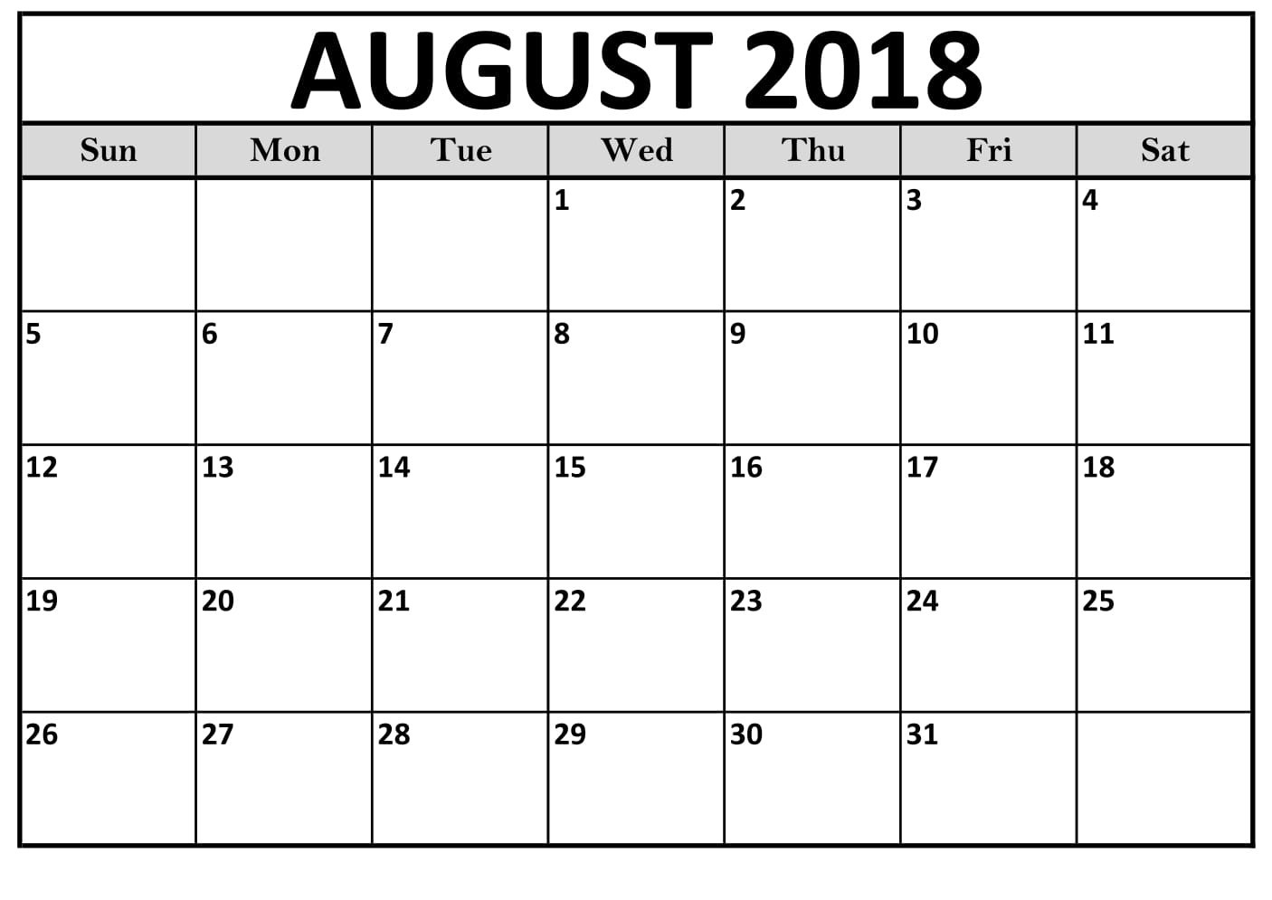 Printable August 2018 Calendar Beautiful Template