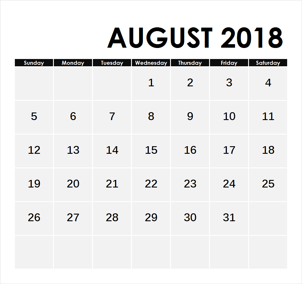 Printable August 2018 Calendar With Holidays Notes