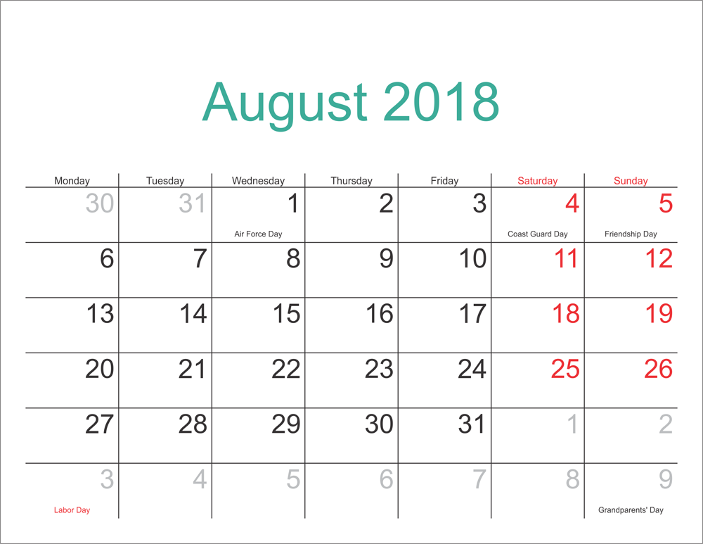 Printable August 2018 Calendar With Holidays Print