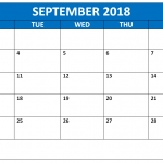 September 2018 Printable Calendar Free Download with Blank Templates