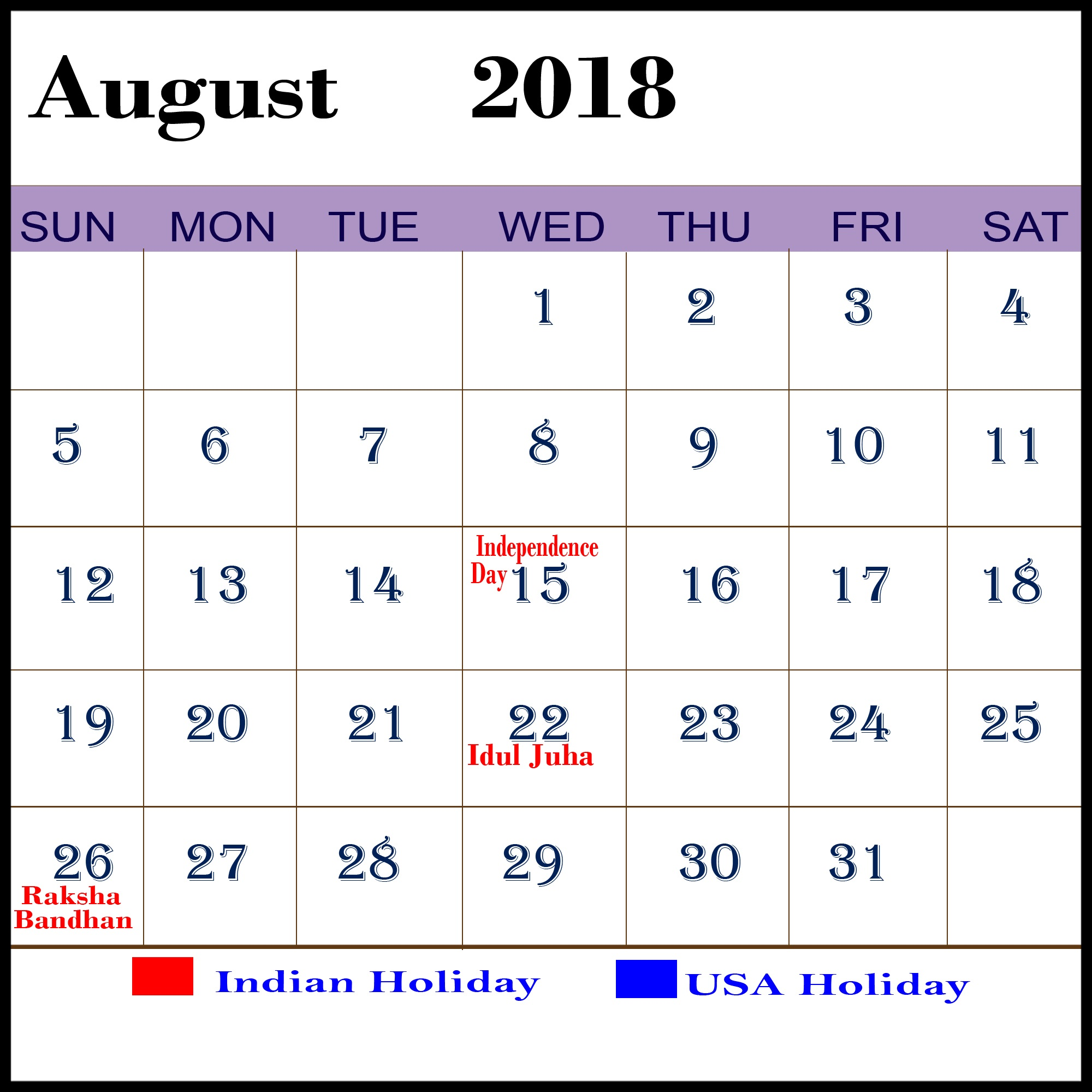 Weekly August Calendar 2018 With Holidays