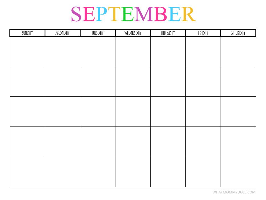 September 2017 Printable Calendar Free Download with Blank Templates
