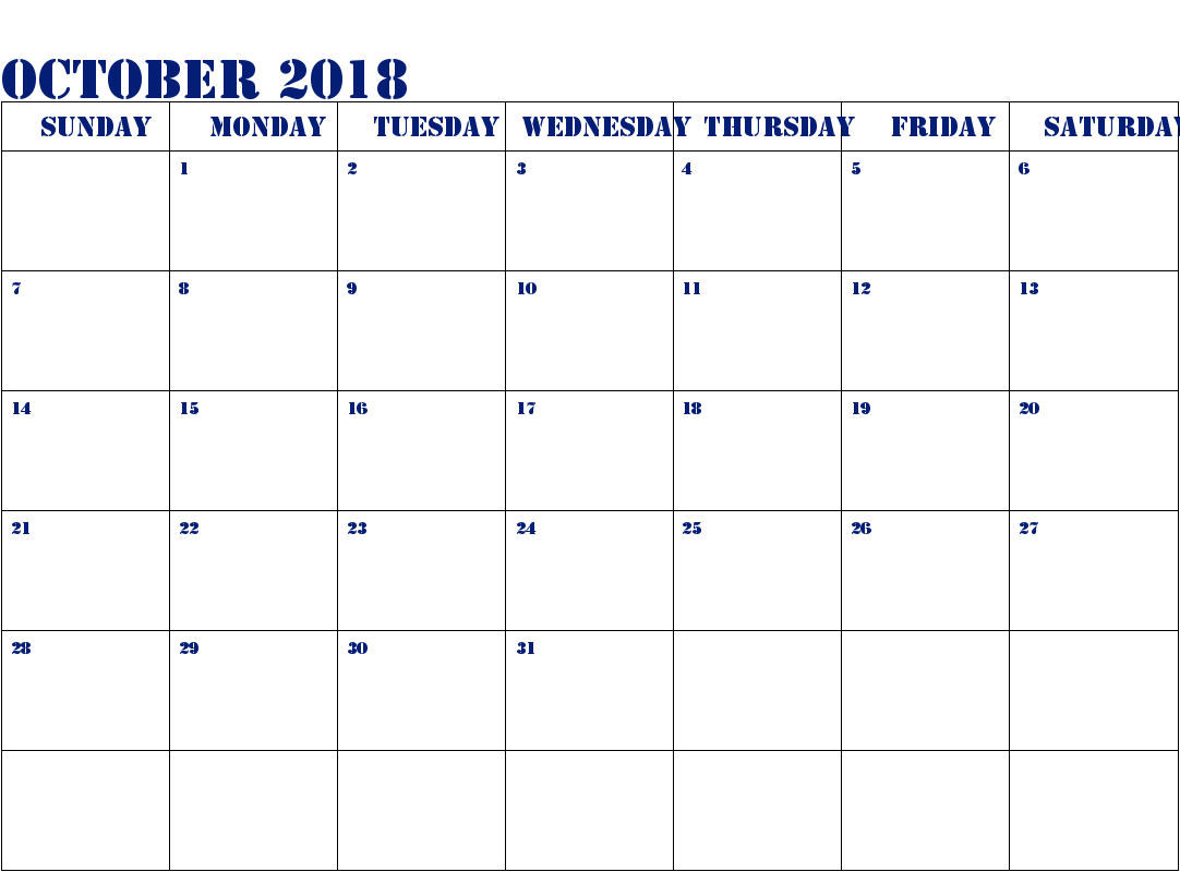 Blank Printable October 2018 Calendar With Holidays