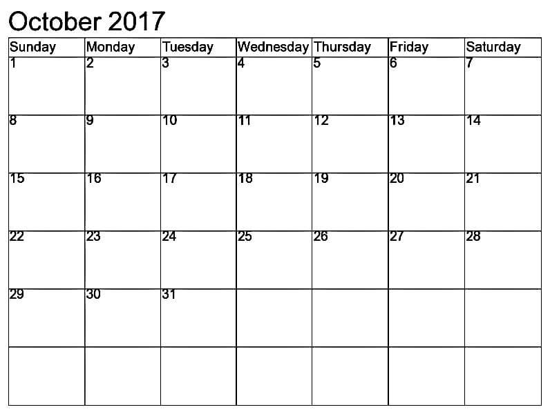 Calendar October 2017 Printable Template
