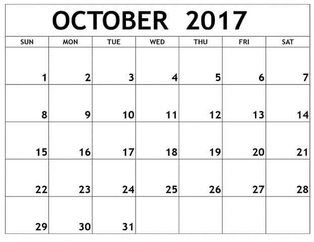 Free October 2017 Month Calendar Printable