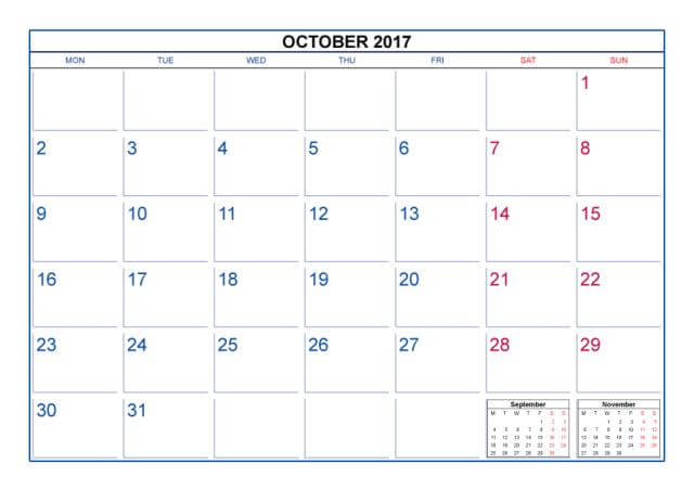 Free October 2017 Monthly Calendar Printable