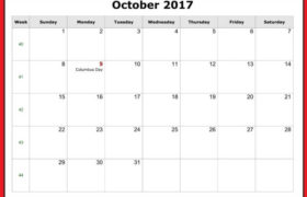 Free October 2017 Printable Calendar Download Online