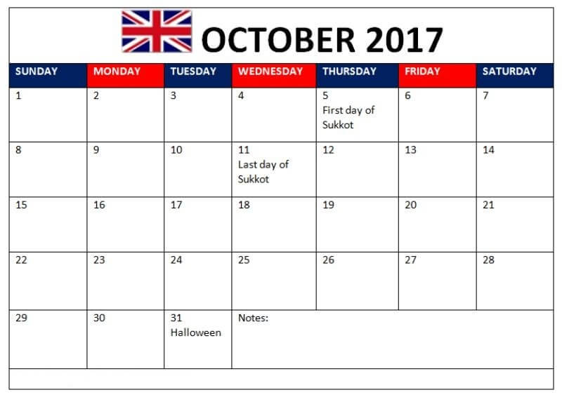 October 2017 Calendar UK Holidays Printable