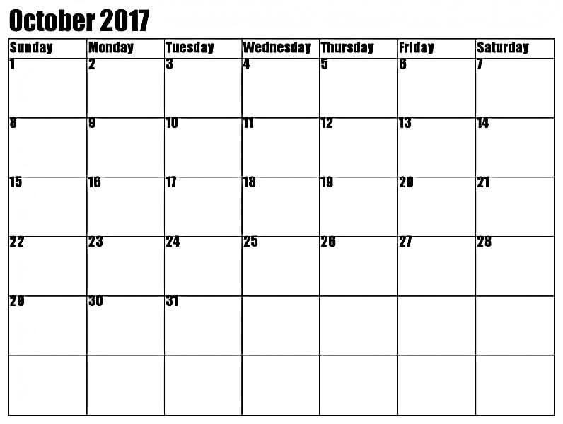 October 2017 Printable Calendar Monthly Template